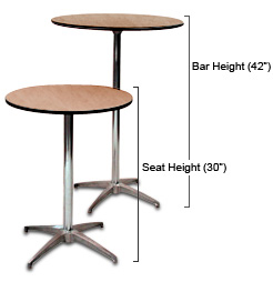 Pedestal Table Rentals For Bars Or Seats In Phoenix Arizona